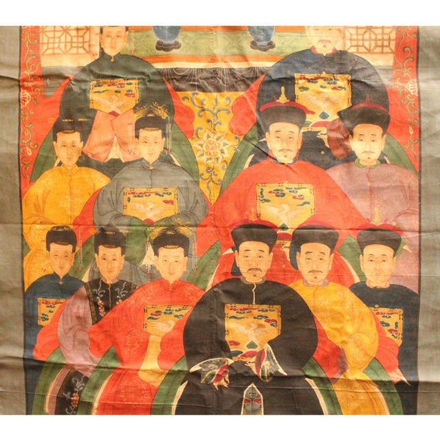 Chinese Hand-Painted Canvas Color Ink Ancestors Painting Art For Sale In San Francisco - Image 6 of 7