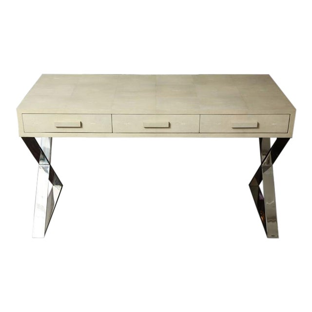 Genuine Shagreen Desk with Polished Chrome X-Band Base For Sale