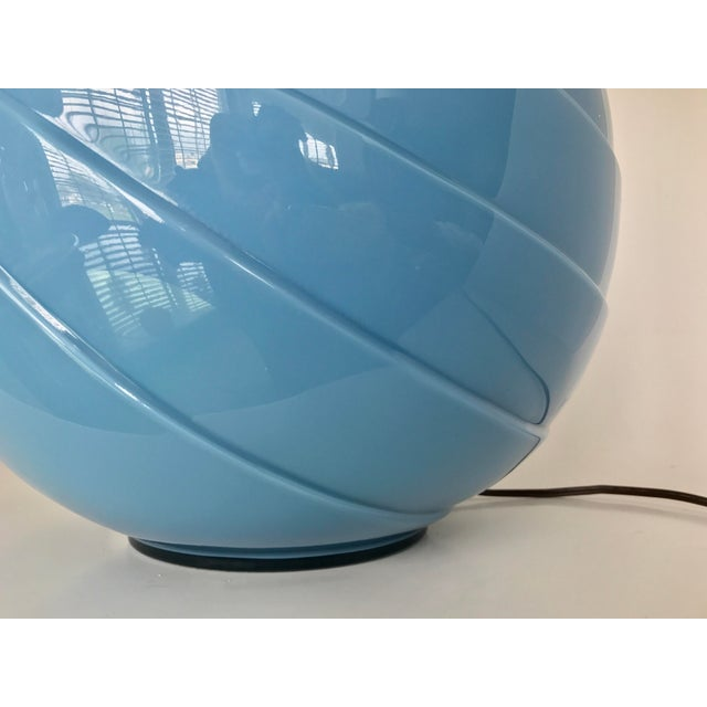 Art Deco Sky Blue Glass Table Lamp - Image 5 of 9