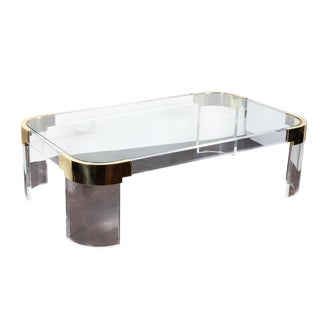 Lucite & Brass Coffee Table by Charles Hollis Jones For Sale