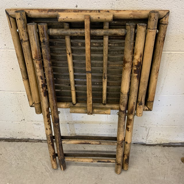 Vintage Burnt Bamboo Folding Tray Tables- a Pair For Sale - Image 10 of 13