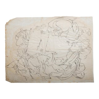 18th Century Japanese Wood Block Print Proof Depicting a Physical Altercation For Sale
