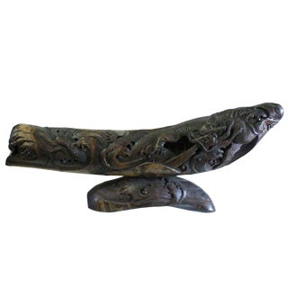 Chinese Bamboo Carved Artistic Curved Boat Shape Dragon Figure Display For Sale