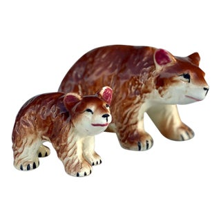 Vintage Porcelain Brown Bear & Cub Painted Figurine - Made in Japan For Sale
