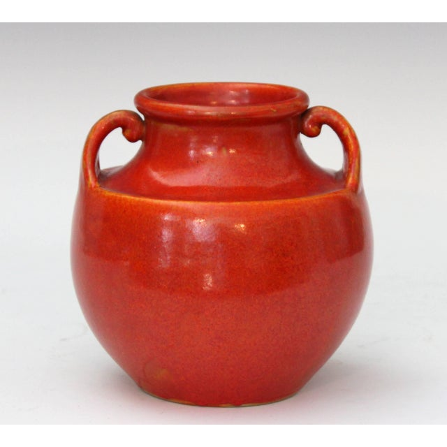 Art Deco Awaji Pottery Art Deco Vase in Crystalline Chrome Red Glaze For Sale - Image 3 of 10