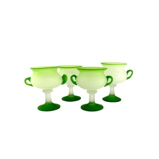 Hand Blown Lime-Green Satin Glass Sherbet Bowls - Set of 4 For Sale
