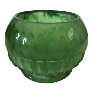 Swirly Green Art Glass Bowl