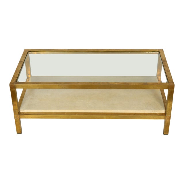 Mid-Century Modern Brass, Parchment and Glass Coffee Table For Sale