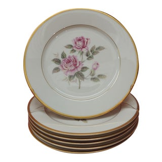 Set of (6) Pink Roses Porcelain Dessert Plates With Gold Details. For Sale