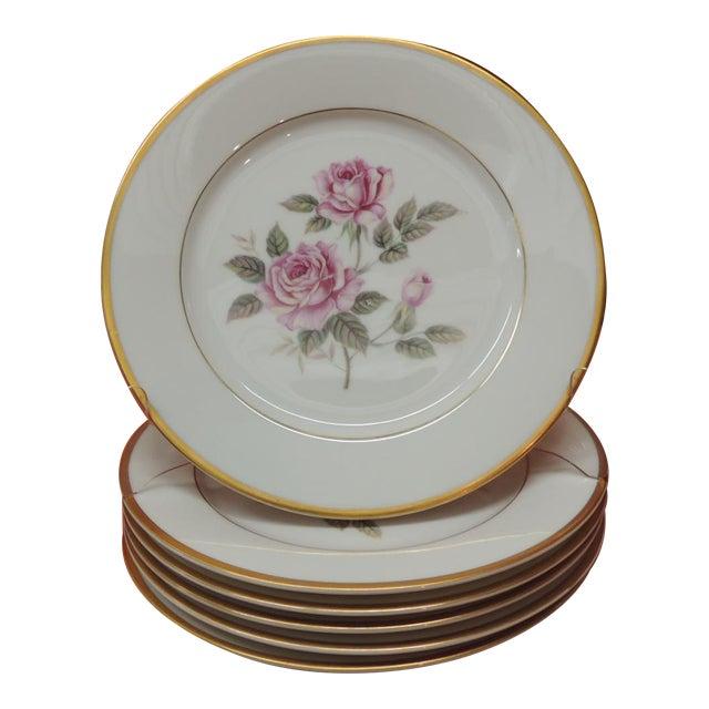 Set of (6) Pink Roses Porcelain Dessert Plates With Gold Details. For Sale