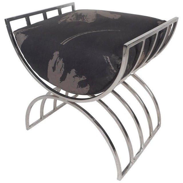 Unique Mid-Century Modern Chrome Stool or Ottoman - Image 3 of 8