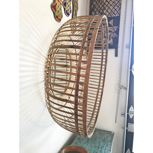 2020s Tan Bamboo Basket Mirror For Sale - Image 5 of 6