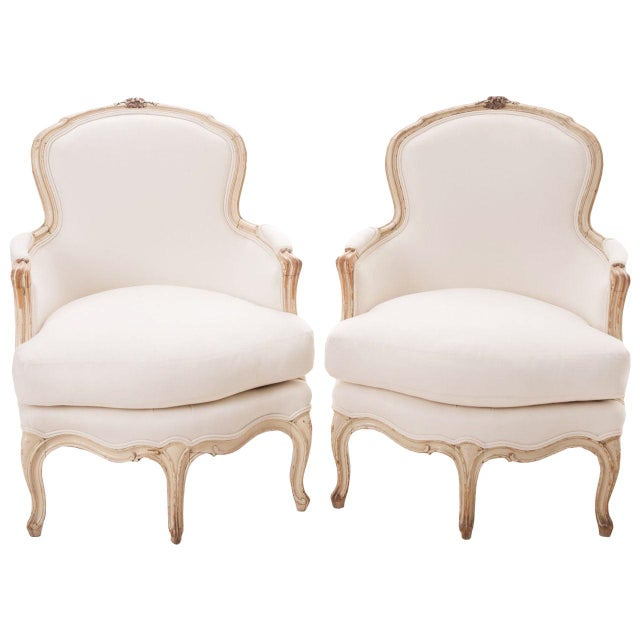 19th Century French 19th Century Louis XV Painted Bergères - a Pair For Sale - Image 11 of 11