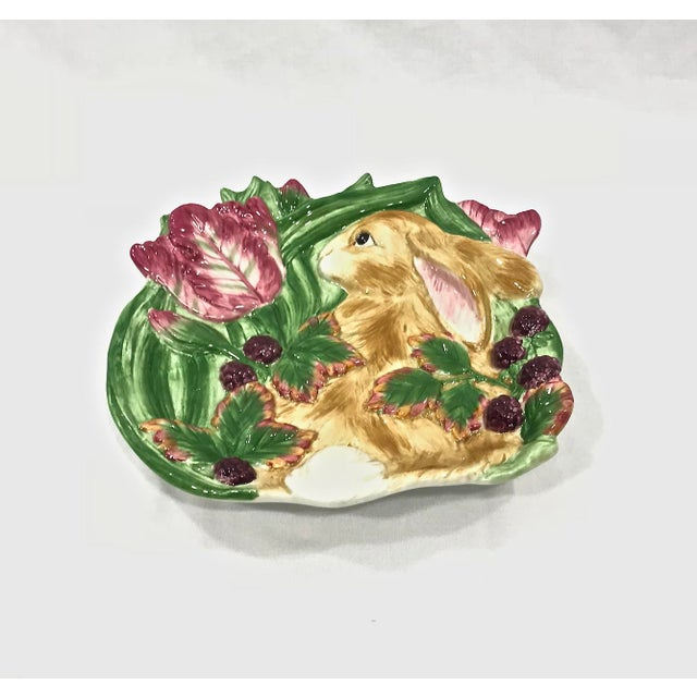 Fitz and Floyd Fitz & Floyd Blackberry Rabbit Canapé Plate For Sale - Image 4 of 5