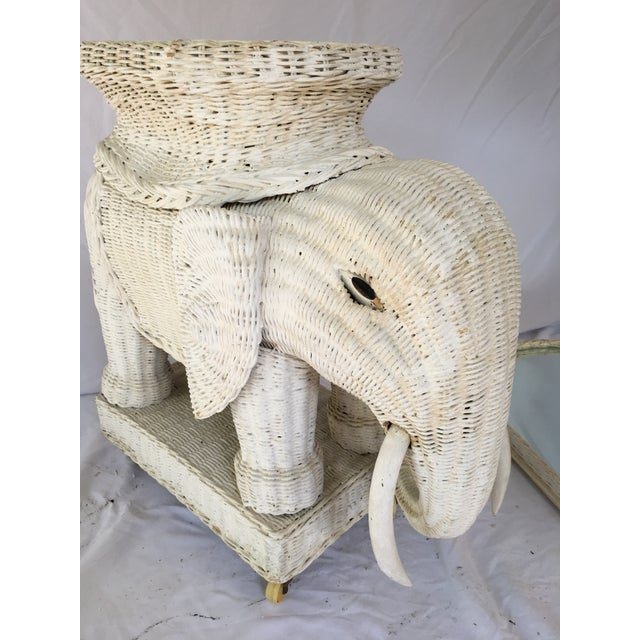 Vintage White Wicker Elephant Side Table With Mirrored Tray For Sale - Image 9 of 12