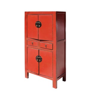 Chinese Distressed Rustic Orange Red Two Shelves Storage Cabinet Preview