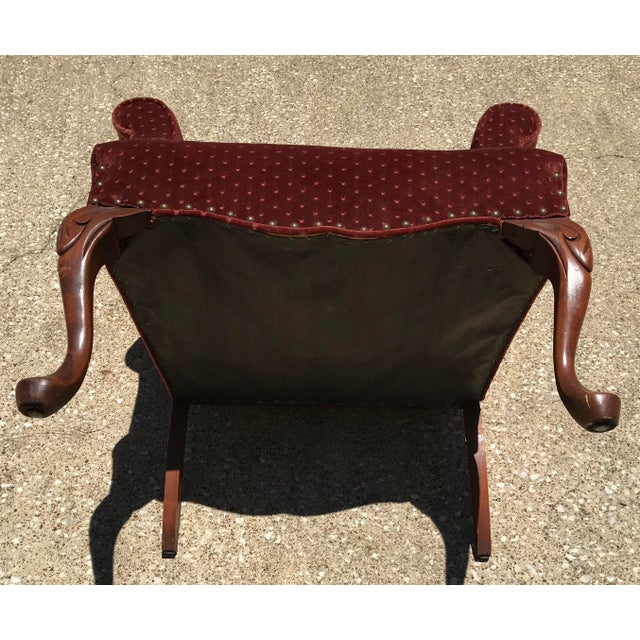 Textile Vintage Velvet Tufted Wingback Chair For Sale - Image 7 of 8