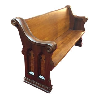 Antique Walnut and Ash Church Pew For Sale