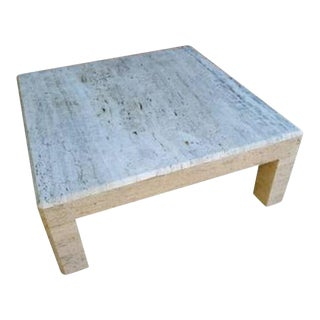 Oversized Parsons Travertine Coffee Table For Sale