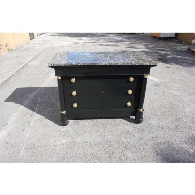 1900s French Empire Ebonized Marble Top Chest of Drawers For Sale - Image 13 of 13