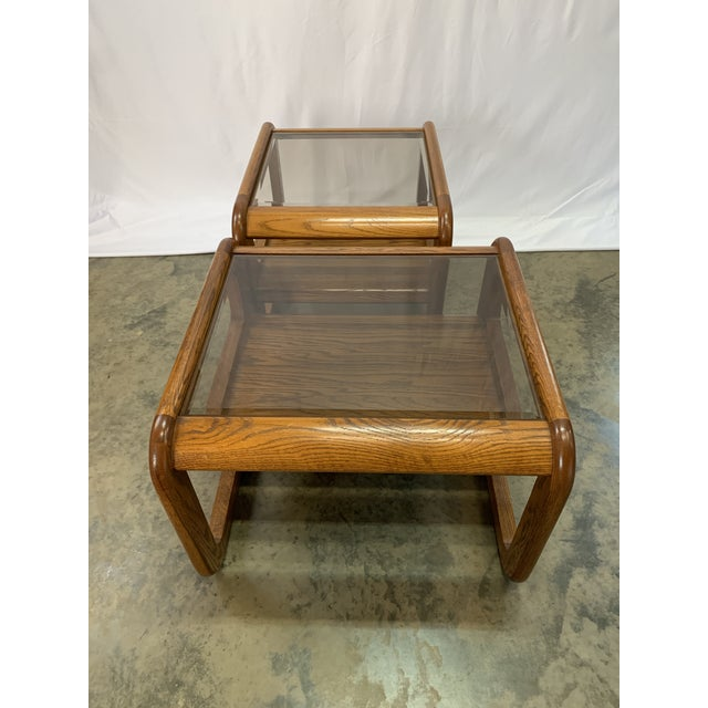 1970s 1970s Mid-Century Modern Lou Hodges Oak and Smoked Glass End Tables -- Set of 2 For Sale - Image 5 of 12