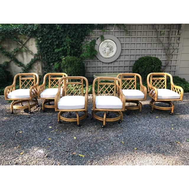 Mid-Century Franco Albini Style Rattan Swivel Dining Chairs - Set of 6 For Sale - Image 12 of 12