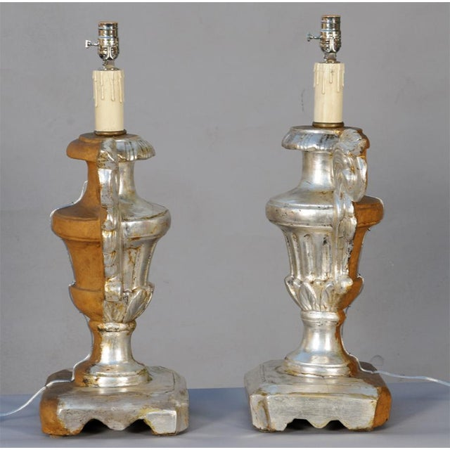 Early 19th Century Pair of 19th Century Silvergilt Pricket Base Urn Lamps For Sale - Image 5 of 8