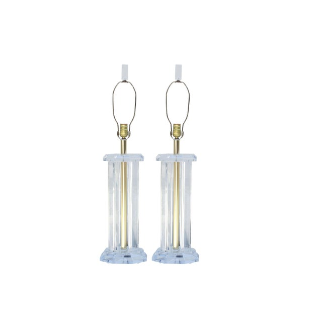 Mid Century Modern Lucite Table Lamps, a Pair For Sale In New York - Image 6 of 6