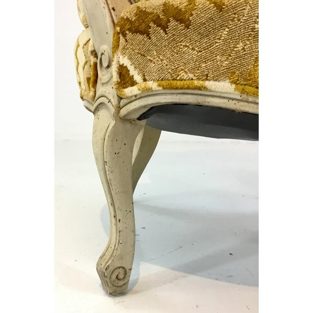 French Vintage French Gold Cut Velvet Slipper Chair Pair For Sale - Image 3 of 7