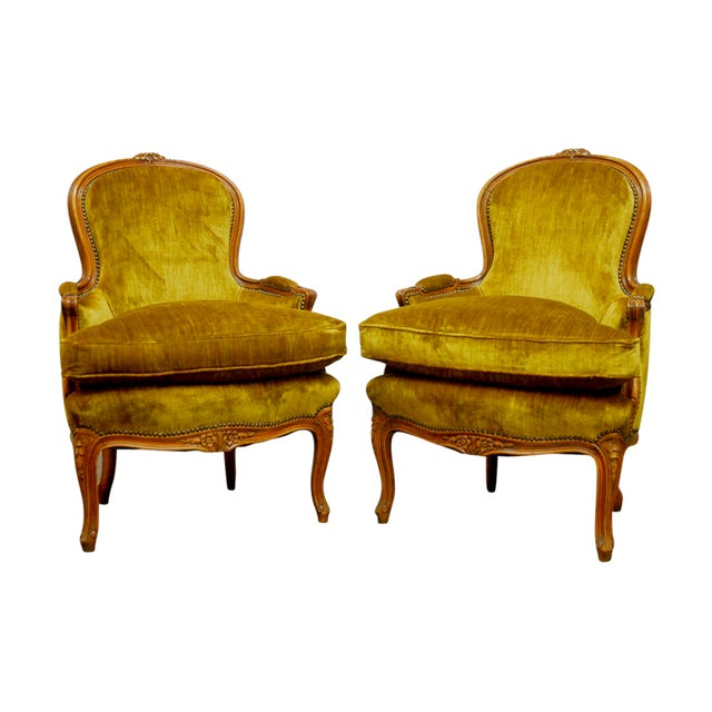 Louis XV Handcarved Topaz Velvet Bergeres - A Pair - Image 1 of 8