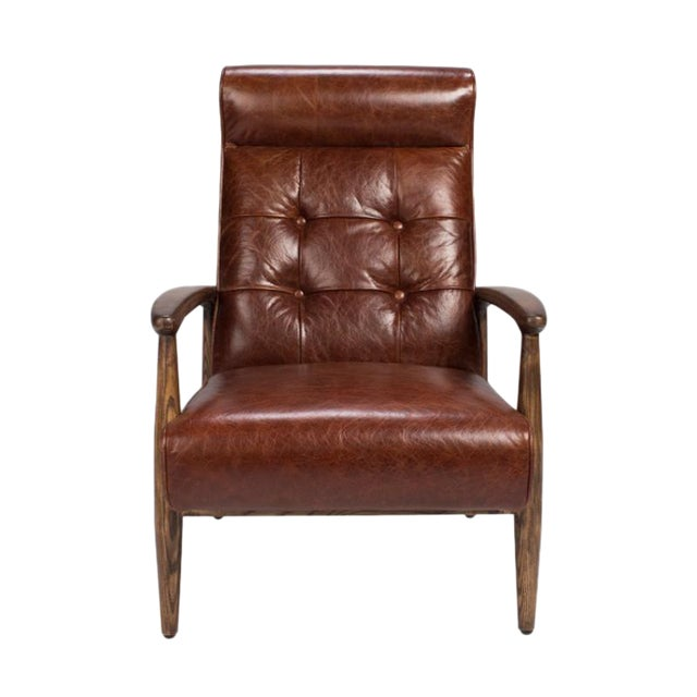 Brown Tufted Leather Club Chair - Image 1 of 4