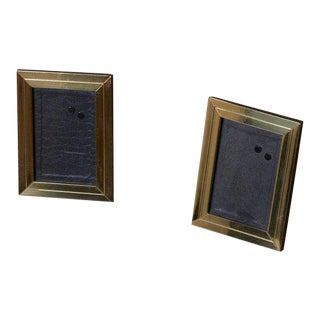 Two Modernist Brass Picture Photo Frames Attributed to Willy Rizzo For Sale