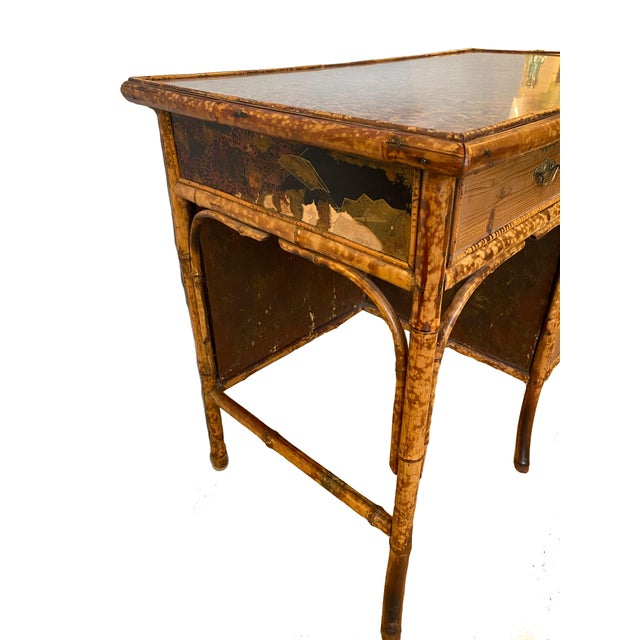 Asian 1960s Vintage Bamboo Writing Desk For Sale - Image 3 of 12