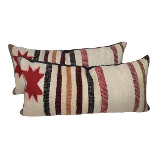 Pair of Navajo Saddle Blanket Bolster Pillows For Sale