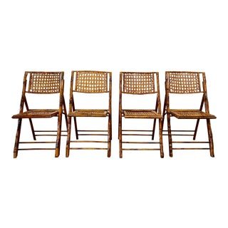 Saffron & Willow Mid Century Modern Scorched Bamboo and Cane Folding Chairs - Set of 4 For Sale