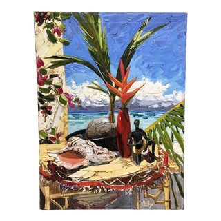Tropical Still Life Palette Knife Oil on Canvas Painting by Peter Vey For Sale