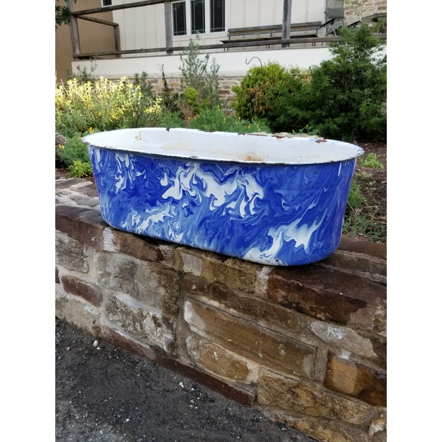Blue Large Blue and White Enamel Ware Sink For Sale - Image 8 of 10