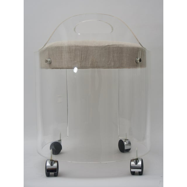 Mid 20th Century Round Lucite Vanity Chair by Charles Hollis Jones 1970s For Sale - Image 5 of 9