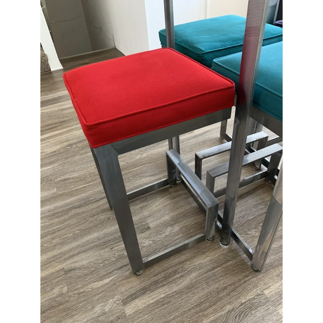 Metal 1970s Chrome and Glass High-Top Table & 4 Stools - 5 Pieces For Sale - Image 7 of 12