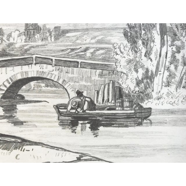 19th Century French Country Landscape Drawing 1847 For Sale In New York - Image 6 of 7