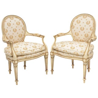 Pair of Painted and Parcel Gilt Italian Armchairs For Sale