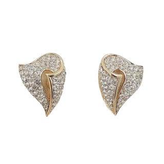 1960s Trifari Pavé Rhinestone Earrings For Sale