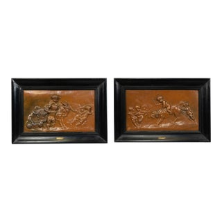 French Victorian Copper Cupid and Animals Wall Plaques - a Pair For Sale