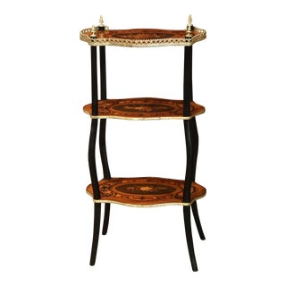 19th Century French Walnut and Bronze Three-Tier Side Table with Flower Inlay