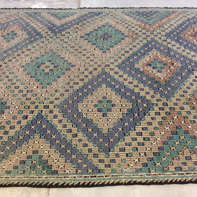 "1960s 1960's Turkish Sumac Kilim - 6'x11'6"" For Sale - Image 5 of 13"