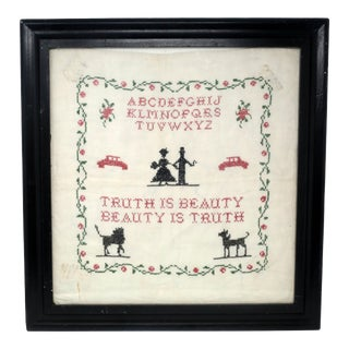 Vintage Framed Cross Stitch Sampler