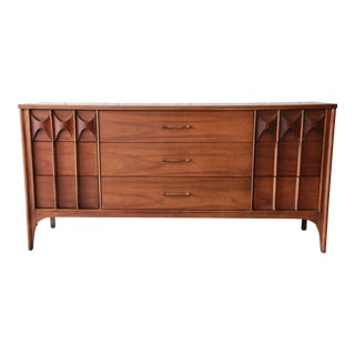 Kent Coffey Perspecta Sculpted Walnut and Rosewood Triple Dresser or Credenza