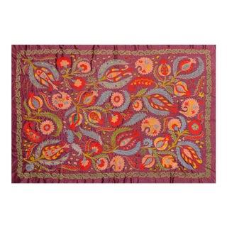Uzbeki Silk Suzani Throw For Sale