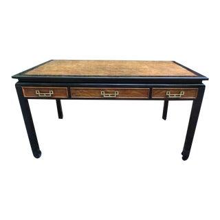 Vintage Chinoiserie Century Chin Hua Burl Wood Desk