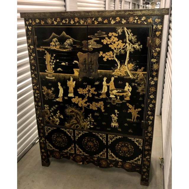 Vintage Chinese Black Lacquer Chinoiserie Cabinet For Sale - Image 4 of 9